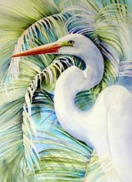 Palms, Great Egret